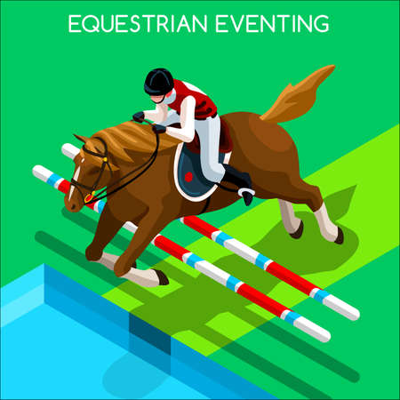 eventing: Equestrian Eventing 2016 Summer Games Icon Set.3D Isometric Jockey and Horse Jump Sporting Competition.Sport Infographic Equestrian Eventing Vector Illustration Illustration