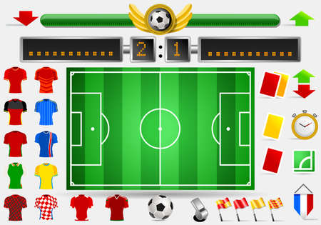 score board: Soccer Field and Football Apparel Jerseys Score Board Point Yellow Card Red Card Whistle Objects International Championship Symbols and Equipment Vector Illustration