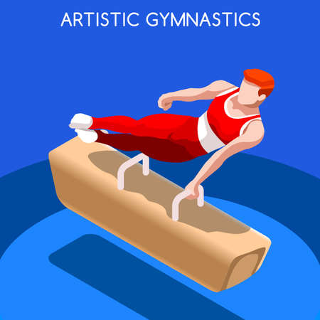pommel: Artistic Gymnastics Pommel Horse 2016 Summer Games Icon Set.3D Isometric Gymnast.Sporting Championship International Competition.Sport Infographic Artistic Gymnastics Vector Illustration