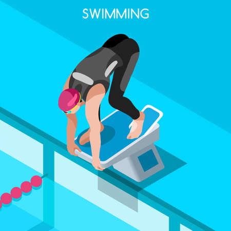 metre: Swimming Freestyle 2016 Summer Games Icon Set.3D Isometric Swimmer.Breaststroke Backstroke Butterfly Relay Sporting Competition Race.Sport Infographic Swimming Vector Illustration