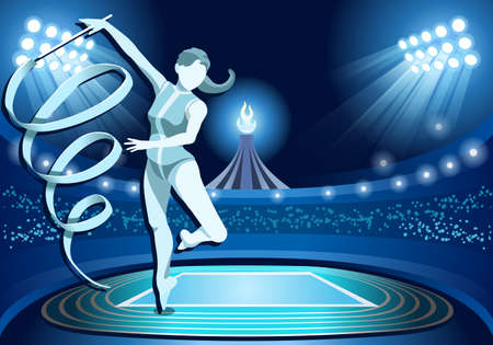 nocturnal: Stadium Background Summer Games 2016 Rhythmic Gymnastics Female Athlete with Ribbon Equipment Gymnast on Field Background Nocturnal View Vector Illustration