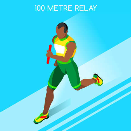 relay: Running Men Relay of Athletic 2016 Summer Games Icon Set.Speed Concept.3D Isometric Athlete.Sport of Athletics.Sporting Competition Race Runner.Sport Infographic Track Field Vector Illustration.