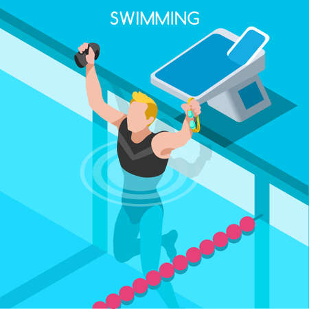 relay: Swimming Freestyle 2016 Summer Games Icon Set.3D Isometric Swimmer.Breaststroke Backstroke Butterfly Relay Sporting Competition Race.Sport Infographic Swimming Vector Illustration
