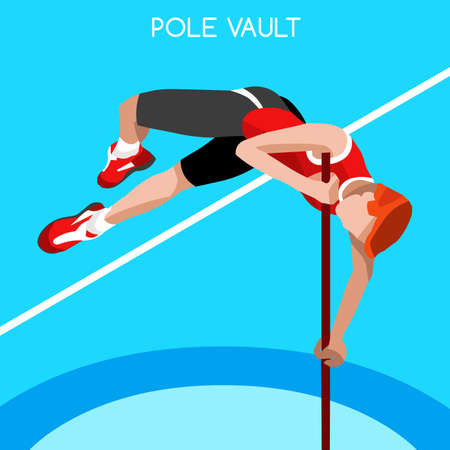 high jump: Athletics Pole Vault 2016 Summer Games Icon Set.3D Isometric Athlete.Sporting Championship International Athletics Competition.Sport Infographic Pole Vault Athletics High Jump Vector Illustration