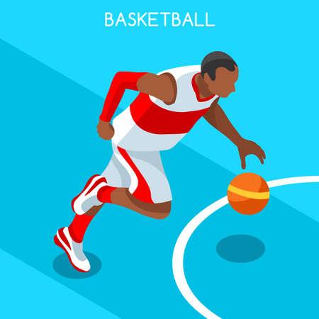 international basketball: Basketball Player Athlete 2016 Summer Games Icon Set.3D Isometric Black Basketball Player Athlete.United States USA Sporting Competition.Sport Basket Infographic Basketball Vector Illustration.