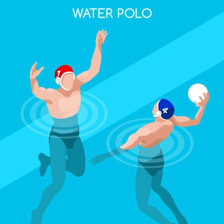 waterpolo: Con los jugadores de polo del agua 2016 Ilustraci�n competici�n deportiva Juegos de Verano Icono isom�trico Set.3D nadador Player.Water Polo Race.Sport Infograf�a Nataci�n Waterpolo vectorial