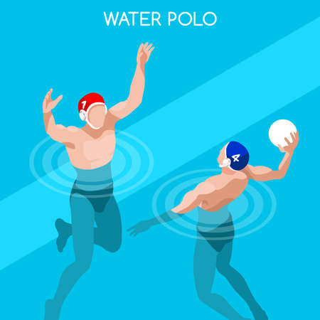 water polo: Swimming Water Polo Players 2016 Summer Games Icon Set.3D Isometric Swimmer Player.Water Polo Sporting Competition Race.Sport Infographic Swimming Water Polo Vector Illustration