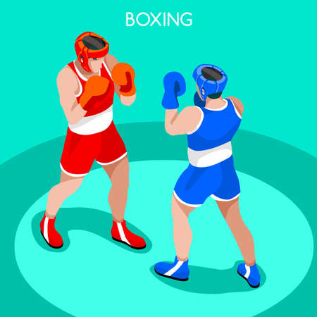 Boxing Players 2016 Summer Games Icon Set.3D Isometric Boxer.Sporting Championship International Boxe Competition.Sport Infographic Boxing Vector Illustration