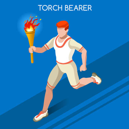 relay: Torchbearer Relay Running Men  2016 Summer Games Icon Set.Speed Concept.3D Isometric Athlete.Sporting Competition.Sport Infographic Torchbearer Vector Illustration. Illustration