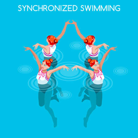 synchronized: Synchronized Swimming 2016 Summer Games Icon Set.3D Isometric Swimmer Team.Water Dance Swimming Sporting International Competition.Sport Infographic Synchronized Swimming Vector Illustration. Illustration