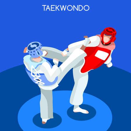 Taekwondo 2016 Summer Games Icon Set.3D Isometric Athlete.Sporting Championship International Martial Art Competition.Sport Infographic Taekwondo Vector Illustration Illustration