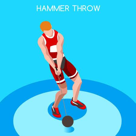 athletics: Athletics Hammer Throw 2016 Summer Games Icon Set.3D Isometric Athlete.Sporting Championship International Competition.Sport Infographic Hammer Throw Athletics Vector Illustration