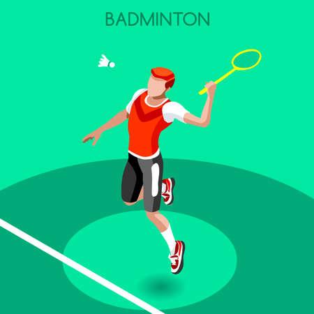 Badminton Player 2016 Summer Games Icon Set.3D Isometric Badminton Player.Sporting Championship International Badminton Competition.Sport Infographic Badminton Vector Illustration