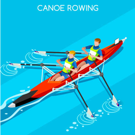 canoeist: Canoe Sprint Rowing 2016 Summer Games Icon Set.3D Isometric Canoeist Paddler.Sprint Rowing Canoe Sporting Competition Race.Sport Infographic Canoe Rowing Vector Illustration Illustration