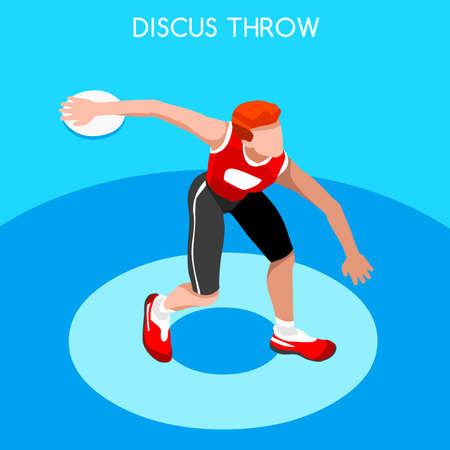 lanzamiento de disco: Athletics Discus Throw 2016 Summer Games Icon Set.3D Isometric Athlete.Sporting Championship International Competition.Sport Infographic Discus Throw Athletics Vector Illustration