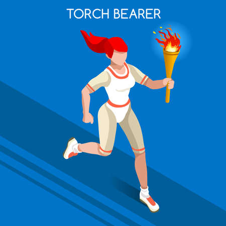 relay: Torchbearer Relay Running Women 2016 Summer Games Icon Set.Speed Concept.3D Isometric Athlete.Sporting Competition.Sport Infographic Torchbearer Vector Illustration. Illustration