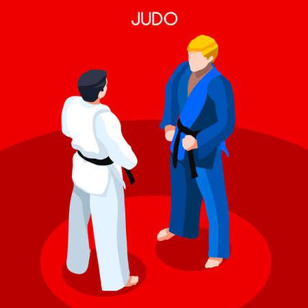bjj: Judo 2016 Summer Games Icon Set.3D Isometric Athlete.Sporting Championship International Martial Art Competition.Sport Infographic Judo Vector Illustration