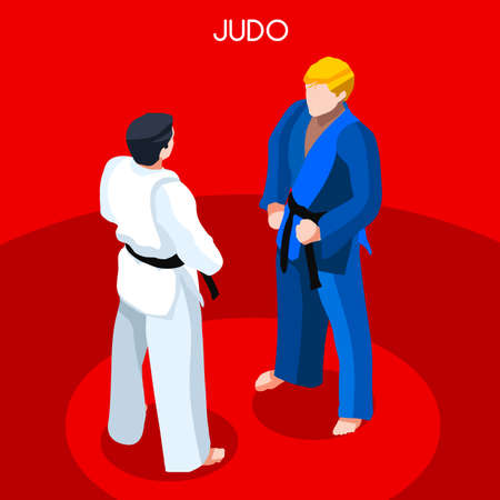 Judo 2016 Summer Games Icon Set.3D Isometric Athlete.Sporting Championship International Martial Art Competition.Sport Infographic Judo Vector Illustration
