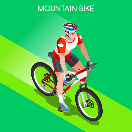 mountain biking: Mountain Biking Cyclist Bicyclist Athlete 2016 Summer Games Icon Set.Mountain Biking Cycling Concept.3D Isometric Sporting Bicycle Competition Race.Sport Cycling Infographic Vector Illustration. Illustration