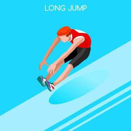 athletics: Athletics Long Jump 2016 Summer Games Icon Set.3D Isometric Athlete.Sporting Championship International Athletics Competition.Sport Infographic Athletics Long Jump Vector Illustration Illustration