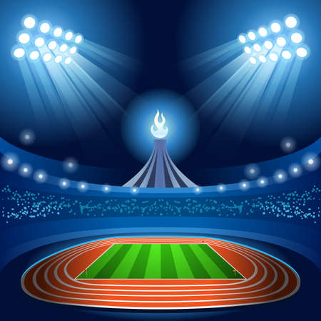 nocturnal: Stadium Background Summer Games 2016 Empty Field Background Nocturnal View Vector Illustration