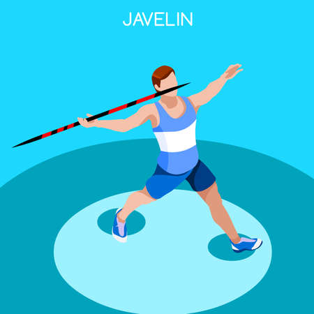 high jump: Athletics Javelin 2016 Summer Games Icon Set.3D Isometric Athlete.Sporting Championship International Athletics Competition.Sport Infographic Athletics High Jump Vector Illustration Illustration