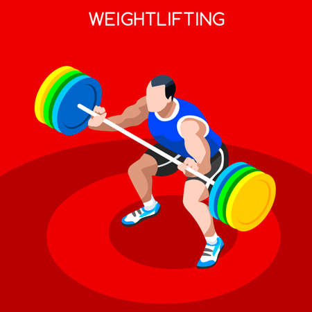 snatch: Weightlifting 2016 Summer Games Icon Set.3D Isometric Weightlifter Athlete.Sporting Championship International Competition.Sport Infographic Athletic Weightlifting Vector Illustration Illustration