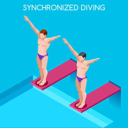 synchronized: Synchronized Diving 2016 Summer Games Icon Set.3D Isometric Diver Sporting Competition Race.Sport Infographic Diving Vector Illustration