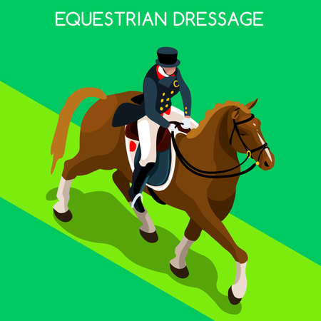 dressage: Equestrian Dressage 2016 Summer Games Icon Set.3D Isometric Jockey and Horse Sporting Competition.Sport Infographic Equestrian Dressage Vector Illustration