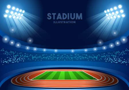 Stadium Background Summer Games 2016 Empty Field Background Nocturnal View Vector Illustration
