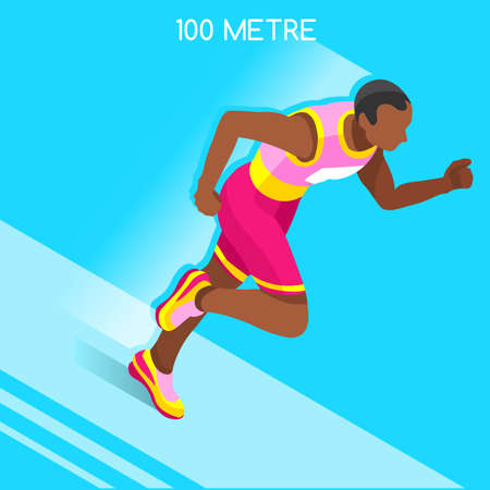 metres: Running 100 Metres Dash of Athletics 2016 Summer Games Icon Set.Speed Concept.3D Isometric Athlete.Sport of Athletics.Sporting Competition Race Runner.Sport Infographic Track Field Vector Illustration Illustration