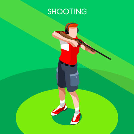 auto focus: Shooting Player 2016 Summer Games Icon Set.3D Isometric Shooter Athlete.Sporting Championship International Shooting Competition.Sport Infographic Shooting Vector Illustration Illustration