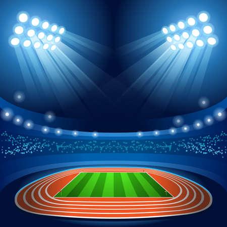 Stade Contexte Jeux d'été 2016 Empty Champ Contexte Nocturnal Voir Illustration Vecteur Banque d'images - 57018715