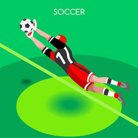 block: Soccer Goalkeeper Block. Soccer Player Athlete Summer Games Icon Set.3D Isometric Soccer Match Goalkeeper Save.Sporting International Competition Championship.Sport Soccer Football Infographic Ve Illustration