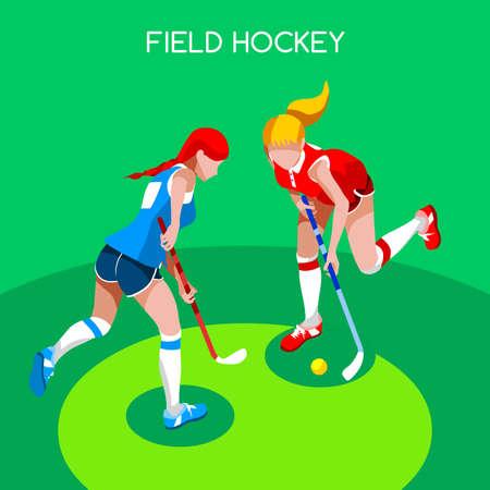 hockey sobre cesped: Ilustración jugador de hockey hierba de chicas Juegos de Verano Icono isométrico Set.3D campo Hockey.Sporting Campeonato Internacional Femenino Hockey Hierba Hockey Competition.Sport vector de Infographic