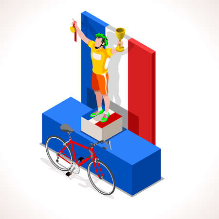 cycling race: Winning cyclist racing. Vector cycling icon. Cyclist icons. Flat 3D isometric people set of vector icons bicyclist. Isometric 2016 bicycle cycling race icons.