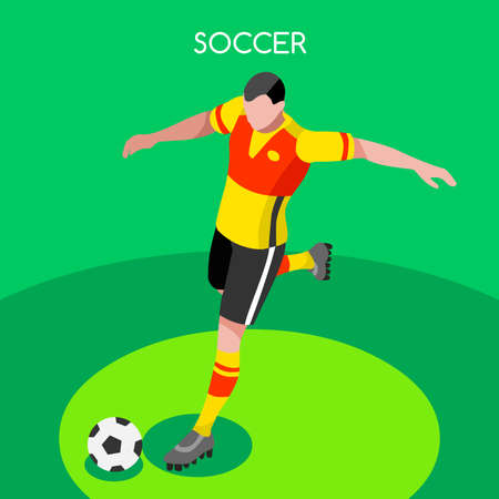 youth sports: Soccer Player Striker Athlete Summer Games Icon Set.3D Isometric Field Soccer Match and Players.Sporting International Competition Championship.Sport Soccer Football Infographic Vector Illustration.
