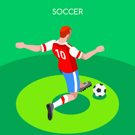 striker: Soccer Player Striker Athlete Summer Games Icon Set.3D Isometric Field Soccer Match and Players.Sporting International Competition Championship.Sport Soccer Football Infographic Vector Illustration.