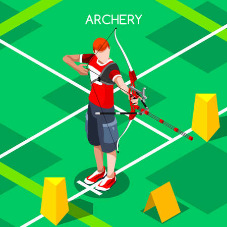 bow and arrow: Archery Summer Games Player Icon Set.3D Isometric Player.Sporting Archery Championship International Archery Archery Competition.Sport Infographic Vector Illustration