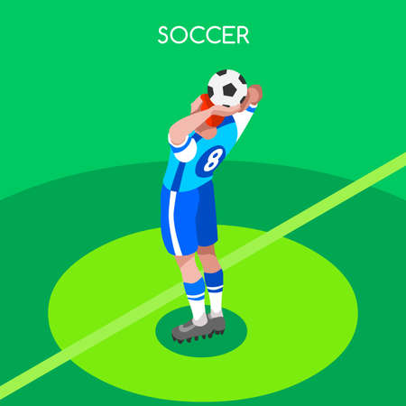 soccer field: Throw Soccer Player Athlete Summer Games Icon Set.3D Isometric Field Soccer Match and Players.Sporting International Competition Championship.Sport Soccer Football Infographic Vector Illustration.