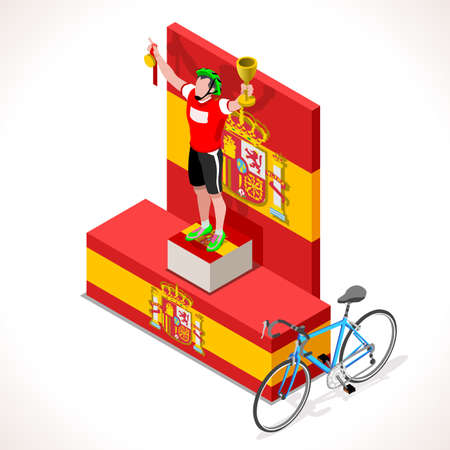 competitiveness: Spain racing winning cyclist. Vector cycling icon. Cyclist icons. Flat 3D isometric people set of vector bicyclist icons. Isometric bicycle 2016 Cycling race icons.