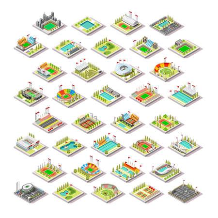 Facilité de Sport Construction Set.Miniature 3D isométrique Ville Carte Sport Parc Bâtiments Structures Infographic Elements.Stadium Arena Champ Piscine Voie Verte Camp Cour. Summer Games Sport Vector Illustration Vecteurs