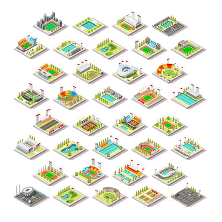 Sport Facility Building Set.Miniature 3D Isometric City Map Sport Park Buildings Infographic Elements.Stadium Arena Field Pool Green Track Camp Court Structures. Summer Games Sport Vector Illustration Illustration