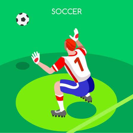 ve: Soccer Goalkeeper Block. Soccer Player Athlete 2016 Summer Games Icon Set.3D Isometric Soccer Match Goalkeeper Save.Sporting International Competition Championship.Sport Soccer Infographic Football Ve