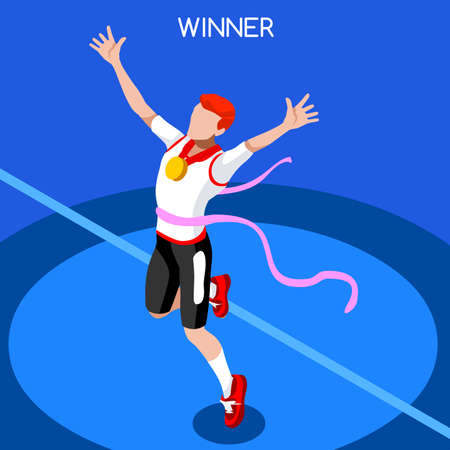 hombre deportista: Correr Ganar Hombre Atletismo Juegos de Verano 2016 Icono Set.Win Concept.3D isom�trica Win Runner Athlete.Sport de la ilustraci�n de atletismo Sporting Competition.Sport Infograf�a Campo de la pista del vector Vectores