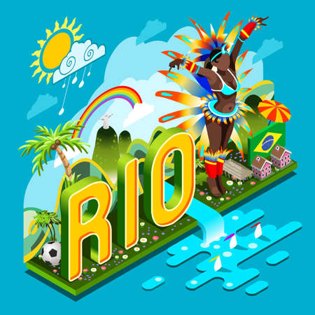 janeiro: Brasil Rio Carnival Infographic. Event on Smartphone or Tablet Device.Landmarks Signs and Symbols Soccer Field Carnival Brazil Flag.3D Isometric Vector Illustration