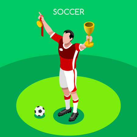 football european championship: Winner Soccer Player Athlete Summer Games Icon Set.3D Isometric Soccer Team Winer Players.Sporting International Competition Championship.Sport Soccer Football Infographic Vector Illustration. Illustration
