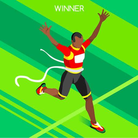 Correr Ganador atletismo Juegos de Verano Icono Set.Winning concept.3d isométrica Win Runner Athlete.Sport de la ilustración de atletismo Sporting Competition.Sport Infografía Campo de la pista del vector