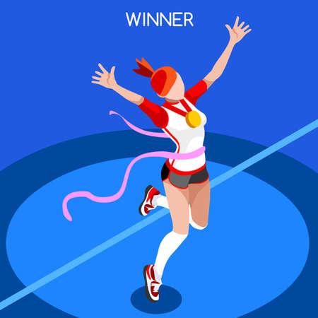 atleta corriendo: Correr Ganar Juegos de Verano Mujer Atletismo Icono Set.Win concept.3d isom�trica Win Runner Athlete.Sport de la ilustraci�n de atletismo Sporting Competition.Sport Infograf�a Campo de la pista del vector