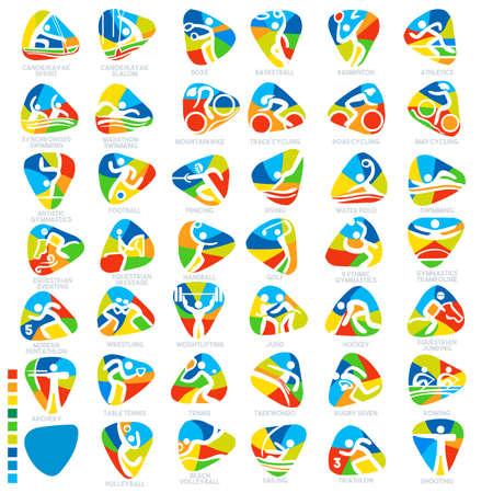 オリンピック夏のゲーム スポーツ アイコン ピクトグラム。フラット コンセプト デザイン セット スティック図ベクトル図  イラスト・ベクター素材